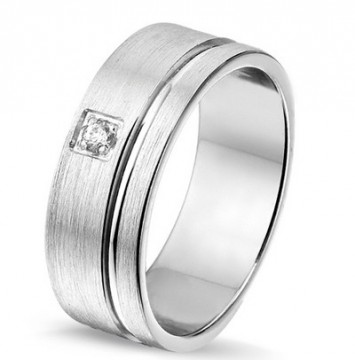 2844901 7 MM - CHOICE SØLV RING BØRSTET MED DIAMANT 0,03CT TWSI