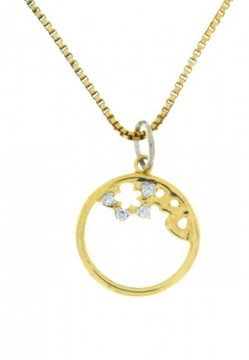 42358 GULL ANHENG  MED DIAMANTER 0,02 CT TWSi MED KJEDE - DIAMETER: 12 MM