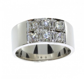 41339 HVITT GULL RING MED DIAMANTER CT 0.60TW/Si