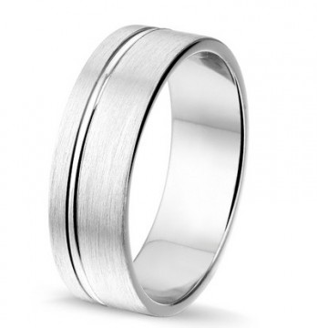 2844902  7 MM - CHOICE SØLV RING BØRSTET UTEN DIAMANT
