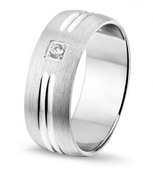 2845101 7 MM - CHOICE SØLV RING BØRSTET MED DIAMANT 0,03CT TWSI