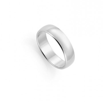 1289806 6 MM HVITT GULL RING - HVELVET / FLAT
