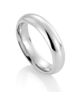 1289705 5 MM HVITT GULL RING - HALVRUND / BUET