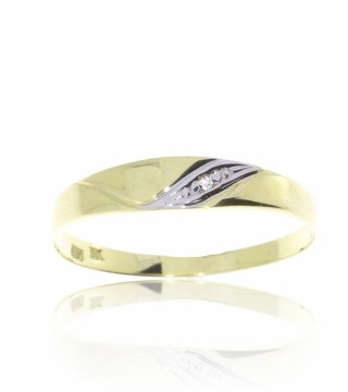 52199 RING I GULL MED DIAMANT 0,005 CT - BREDDE: 3,8 MM