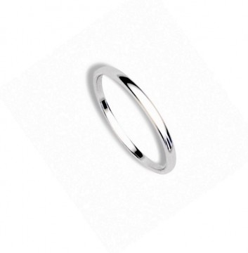 1289802 2 MM HVITT GULL RING - HVELVET / FLAT