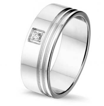 2845001 7 MM - CHOICE SØLV RING MED DIAMANT 0,03CT TWSI