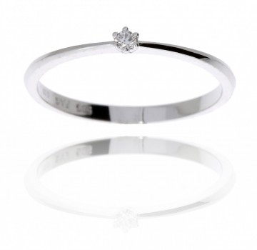 50-00424-1255 HVITT GULL EN STENS RING MED DIAMANT  0,03 CT WSi