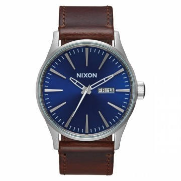 A1051524 NIXON SENTRY LEATHER - BLUE / BROWN - DIAMETER:42 MM